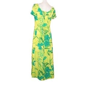 JAMS WORLD Vintage Yellow & Green Print Dress XL